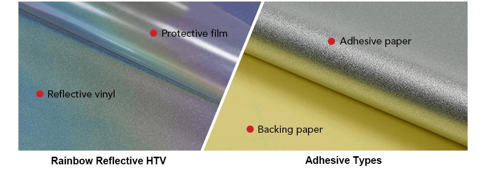 Backing of rainbow reflective heat transfer vinyl