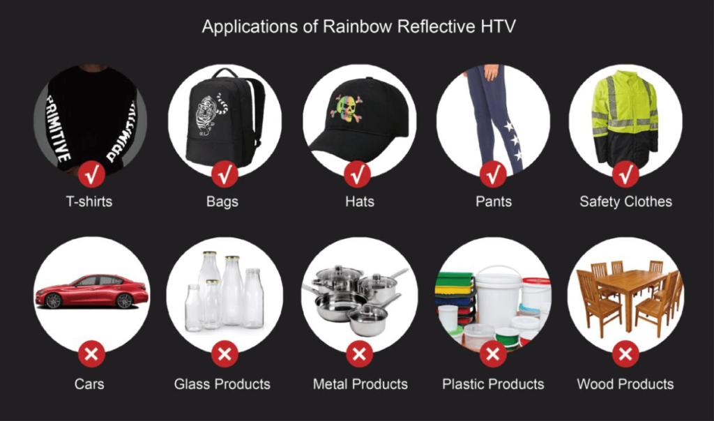applications of rainbow reflective heat transfer vinyl