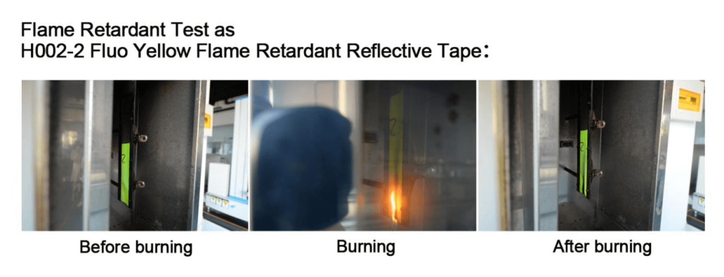 Flame retardant test of reflective tape for clothing