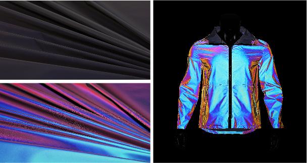 Iridescent reflective fabric