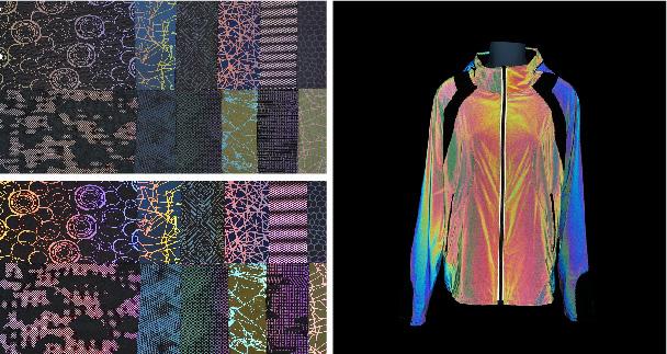 Rainbow reflective print fabric