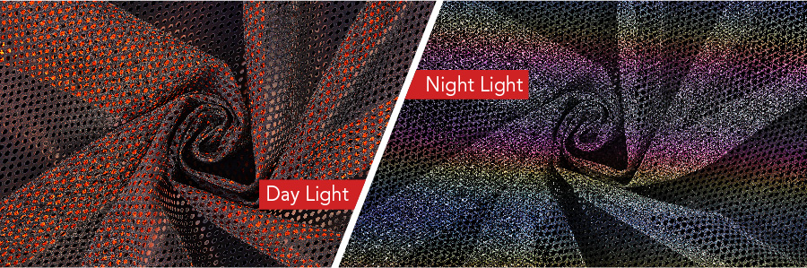 Reflective fabric before and after contrast