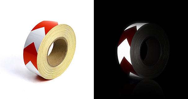 9 red and silver reflective tape