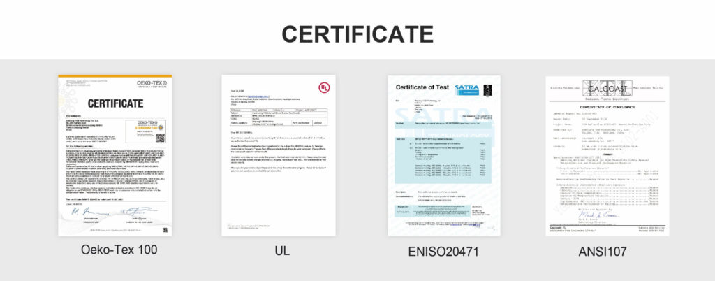 Certificate of Silver Reflective Material