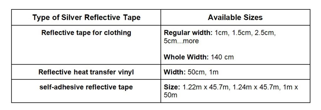 size of Silver Reflective Tape